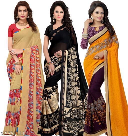 Aasu fashion Printed Multicoloured Combo Sarees