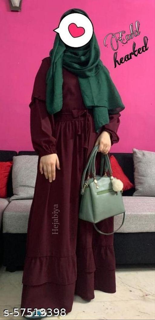 Hejabiya Layered Sleeve Abaya- Maroon