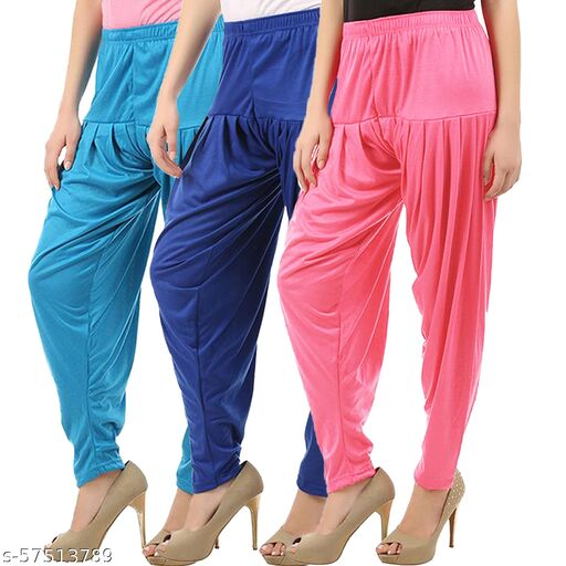 Buy That Trendz Combo Offer Pack of 3 Cotton Viscose Lycra Dhoti Patiyala Salwar Harem Bottoms Pants for Womens Turquoise Royal Blue Rose