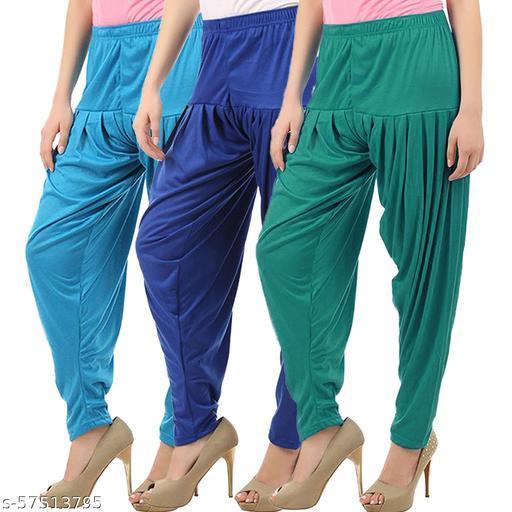 Buy That Trendz Combo Offer Pack of 3 Cotton Viscose Lycra Dhoti Patiyala Salwar Harem Bottoms Pants for Womens Turquoise Royal Blue Ramar Green
