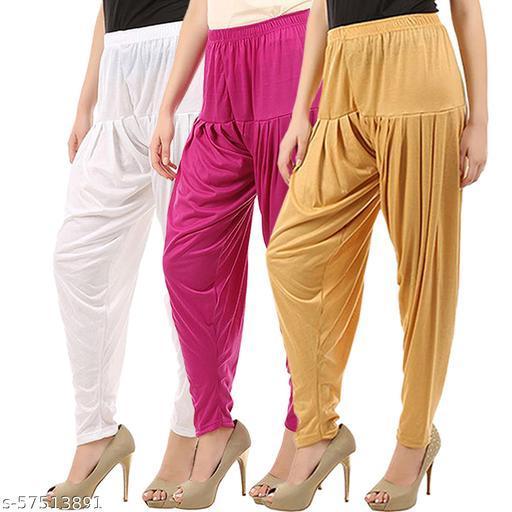 Buy That Trendz Combo Offer Pack of 3 Cotton Viscose Lycra Dhoti Patiyala Salwar Harem Bottoms Pants for Womens White Rani Pink Dark Skin