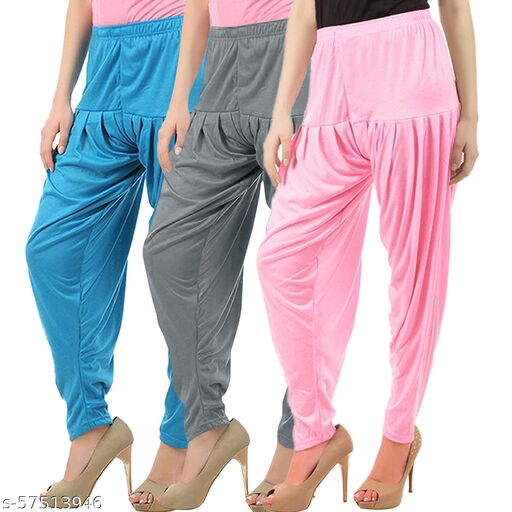 Buy That Trendz Combo Offer Pack of 3 Cotton Viscose Lycra Dhoti Patiyala Salwar Harem Bottoms Pants for Womens Turquoise Grey Baby Pink