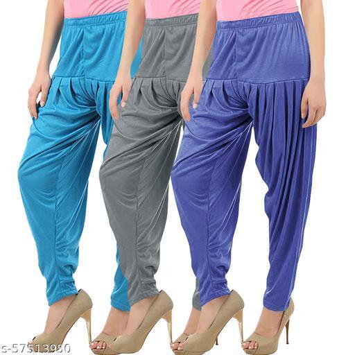 Buy That Trendz Combo Offer Pack of 3 Cotton Viscose Lycra Dhoti Patiyala Salwar Harem Bottoms Pants for Womens Turquoise Grey Lavender