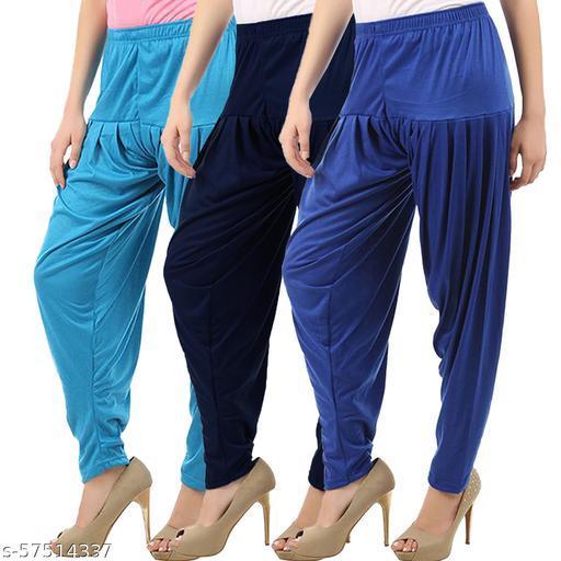 Buy That Trendz Combo Offer Pack of 3 Cotton Viscose Lycra Dhoti Patiyala Salwar Harem Bottoms Pants for Womens Turquoise Navy Royal Blue