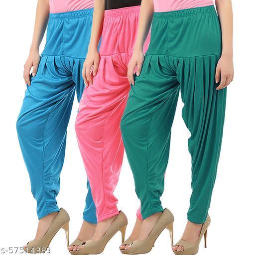 Buy That Trendz Combo Offer Pack of 3 Cotton Viscose Lycra Dhoti Patiyala Salwar Harem Bottoms Pants for Womens Turquoise Rose Ramar Green