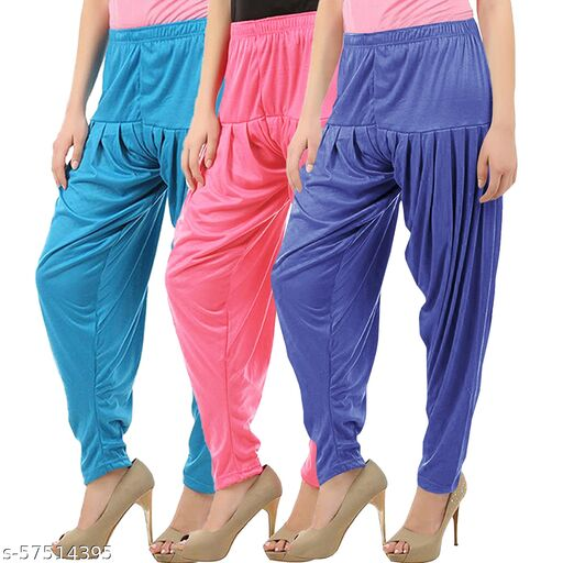 Buy That Trendz Combo Offer Pack of 3 Cotton Viscose Lycra Dhoti Patiyala Salwar Harem Bottoms Pants for Womens Turquoise Rose Lavender