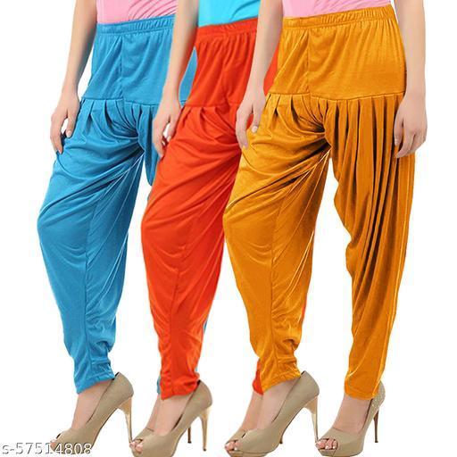 Buy That Trendz Combo Offer Pack of 3 Cotton Viscose Lycra Dhoti Patiyala Salwar Harem Bottoms Pants for Womens Turquoise Orange Mustard