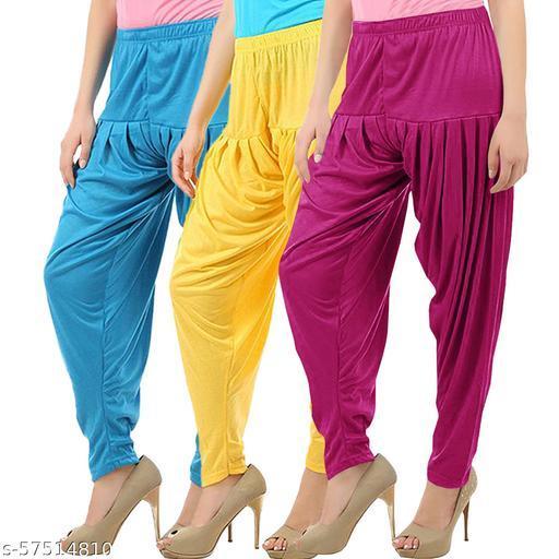 Buy That Trendz Combo Offer Pack of 3 Cotton Viscose Lycra Dhoti Patiyala Salwar Harem Bottoms Pants for Womens Turquoise Yellow Purple