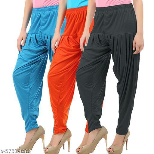 Buy That Trendz Combo Offer Pack of 3 Cotton Viscose Lycra Dhoti Patiyala Salwar Harem Bottoms Pants for Womens Turquoise Orange Dark Grey