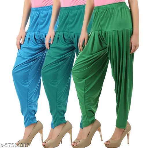 Buy That Trendz Combo Offer Pack of 3 Cotton Viscose Lycra Dhoti Patiyala Salwar Harem Bottoms Pants for Womens Turquoise Ramar Green Jade Green