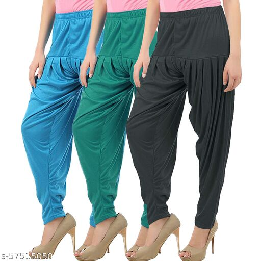 Buy That Trendz Combo Offer Pack of 3 Cotton Viscose Lycra Dhoti Patiyala Salwar Harem Bottoms Pants for Womens Turquoise Ramar Green Dark Grey