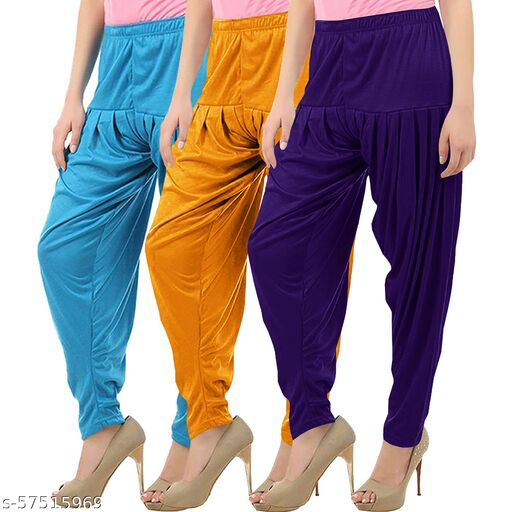 Buy That Trendz Combo Offer Pack of 3 Cotton Viscose Lycra Dhoti Patiyala Salwar Harem Bottoms Pants for Womens Turquoise Mustard Violet