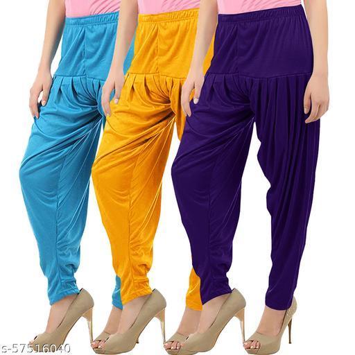 Buy That Trendz Combo Offer Pack of 3 Cotton Viscose Lycra Dhoti Patiyala Salwar Harem Bottoms Pants for Womens Turquoise Mango Yellow Violet