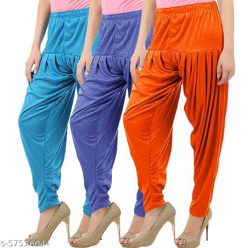 Buy That Trendz Combo Offer Pack of 3 Cotton Viscose Lycra Dhoti Patiyala Salwar Harem Bottoms Pants for Womens Turquoise Lavender Light Orange