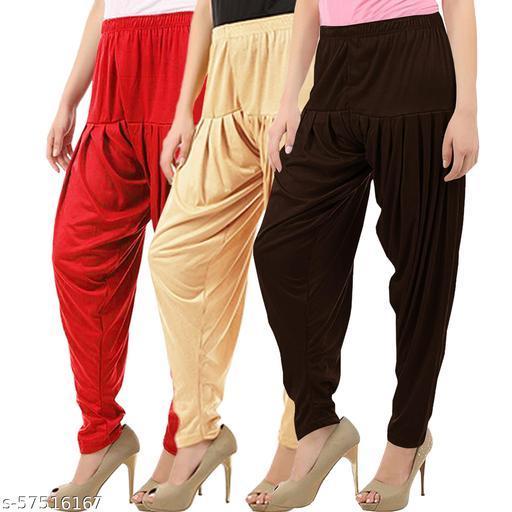 Buy That Trendz Combo Offer Pack of 3 Cotton Viscose Lycra Dhoti Patiyala Salwar Harem Bottoms Pants for Womens Red Light Skin Chocolate Brown