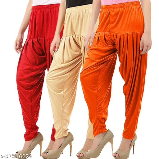Buy That Trendz Combo Offer Pack of 3 Cotton Viscose Lycra Dhoti Patiyala Salwar Harem Bottoms Pants for Womens Red Light Skin Light Orange