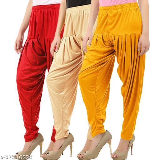 Buy That Trendz Combo Offer Pack of 3 Cotton Viscose Lycra Dhoti Patiyala Salwar Harem Bottoms Pants for Womens Red Light Skin Mango Yellow