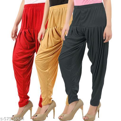 Buy That Trendz Combo Offer Pack of 3 Cotton Viscose Lycra Dhoti Patiyala Salwar Harem Bottoms Pants for Womens Red Dark Skin Dark Grey