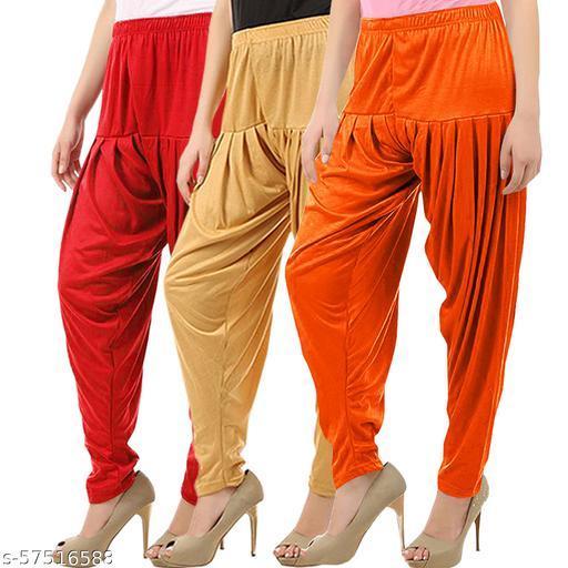Buy That Trendz Combo Offer Pack of 3 Cotton Viscose Lycra Dhoti Patiyala Salwar Harem Bottoms Pants for Womens Red Dark Skin Light Orange