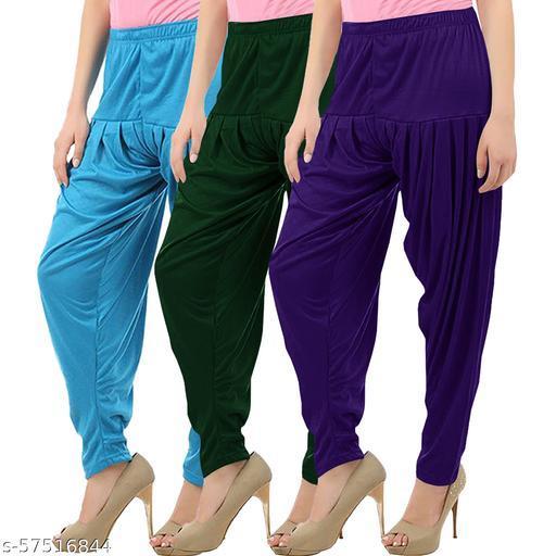 Buy That Trendz Combo Offer Pack of 3 Cotton Viscose Lycra Dhoti Patiyala Salwar Harem Bottoms Pants for Womens Turquoise Bottle Green Violet