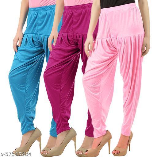 Buy That Trendz Combo Offer Pack of 3 Cotton Viscose Lycra Dhoti Patiyala Salwar Harem Bottoms Pants for Womens Turquoise Purple Baby Pink