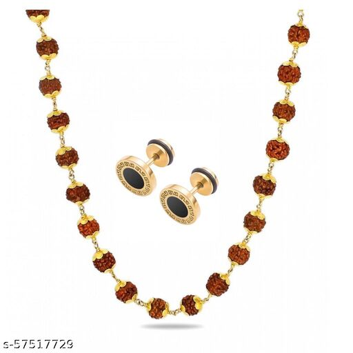 Trendy Chain With Golden Black Ear Stud For Mens/Boys( Set Of 2)