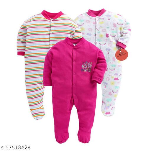 100% Cotton Sleep Suit/Onesies/Rompers/Jumpsuit for New Born Boys and Girls Combo Pack
