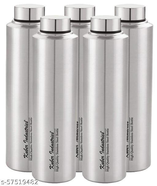 Kuber Industries Stainless Steel 5 Pieces Fridge Water Bottle, 700 ML (Silver)