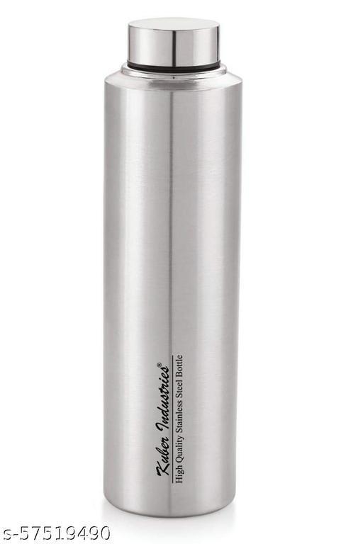 Kuber Industries Stainless Steel Water Bottle, 900 ML (Silver)