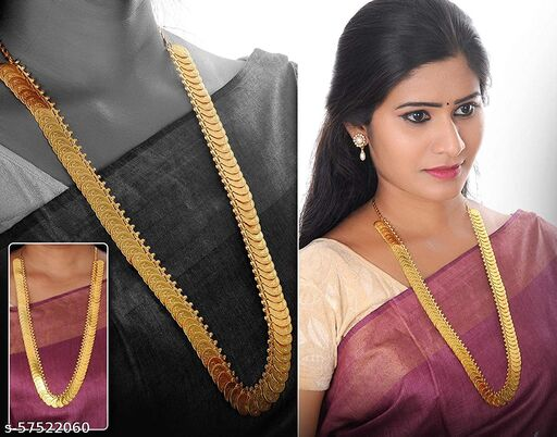 Vama Fashion Laxmi Coin Necklace set kasulaperu Long Haram for Women Gold (Pack of 1)