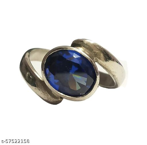 Neelam (Blue Sapphire) Ring With White Metal Brass Sapphire Ring (6 to 7 Carat)