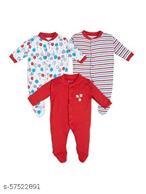 Full Sleeves Cotton Printed Sleepsuit Pack of 3 for Baby
