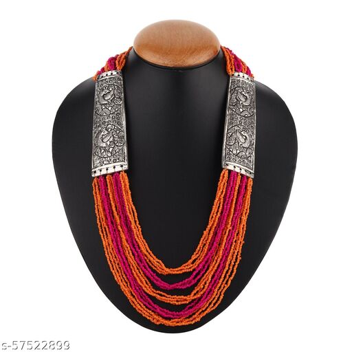 OSS Pink And Orange Beaded Necklace