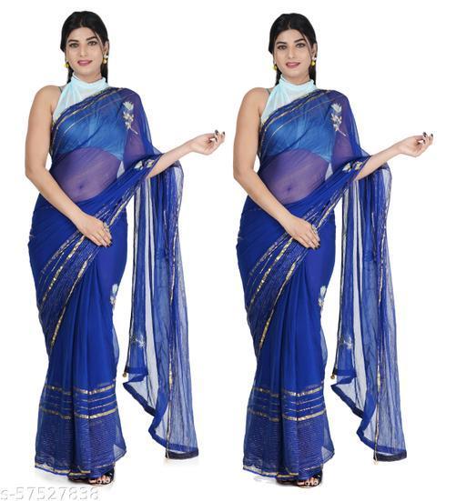AYE AYE Jaipuri Rajasthani Women Chiffon Lurax Kaccha Gota Work Saree With Contrast Blouse P004-S(PKS OF TWO)