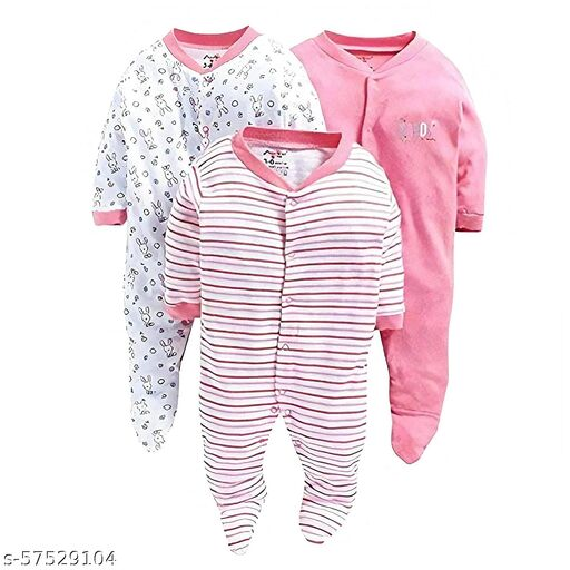 New Born Baby Multi-Color Long Sleeve Cotton Sleep Suit Romper for Boys and Girls Set of 3 (Baby Pink, 3-6 Months)