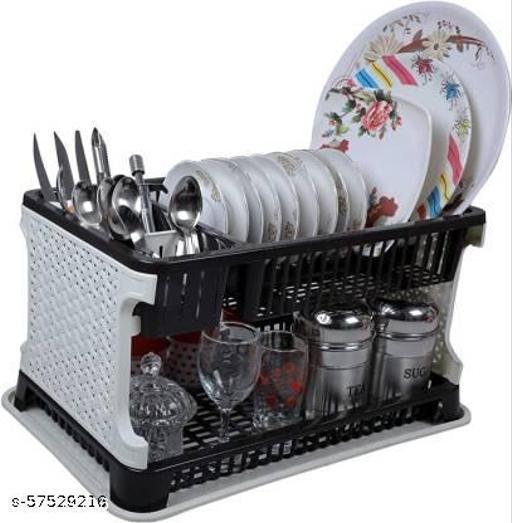 Two layer large kitchen storage dishes basket dish drainer kitchen rack. Storage Basket  (Pack of 1)
