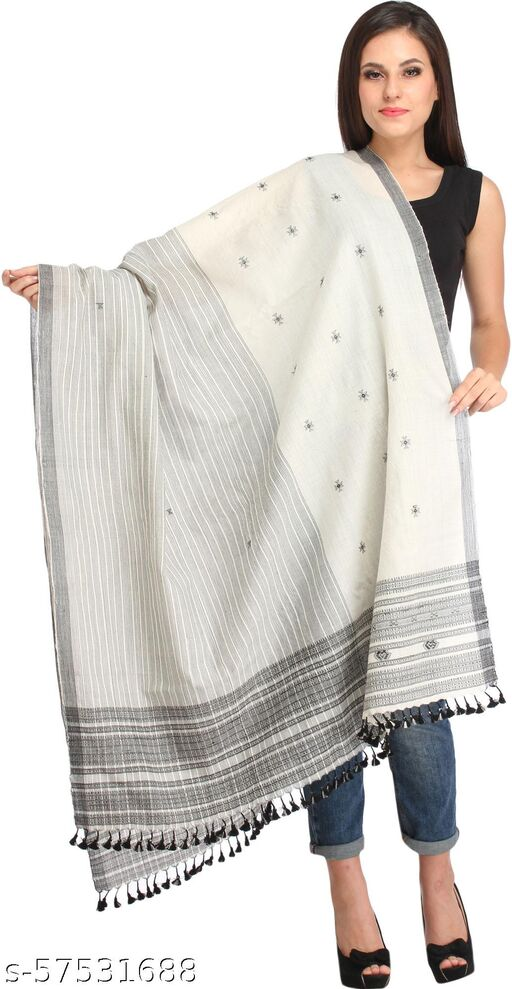 Exotic India Off-White Shawl from Kutch with Woven Stripes and Bootis