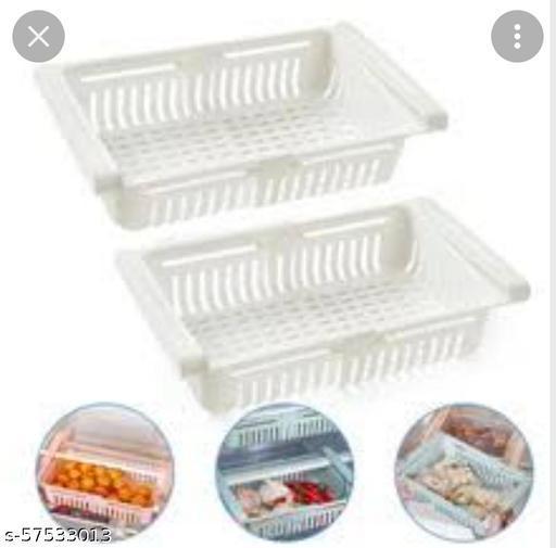 Fridge storage adjustble  basket Pack of 2