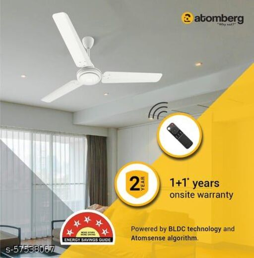 Atomberg Ozeo 1200mm BLDC Energy Saving 5 Star Rated High Speed Ceiling fan with Remote. White, Pack of 1