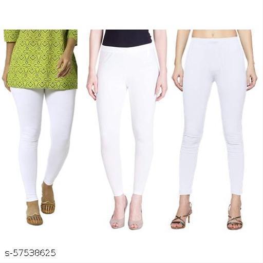 White Stretchable Cotton Legging for Women, (Size: M, L, XL)