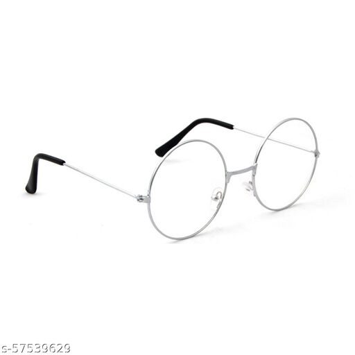 Momentum Clear Lens Round Sunglasses   Unisex   Silver Frame   UV Protection   MM-103