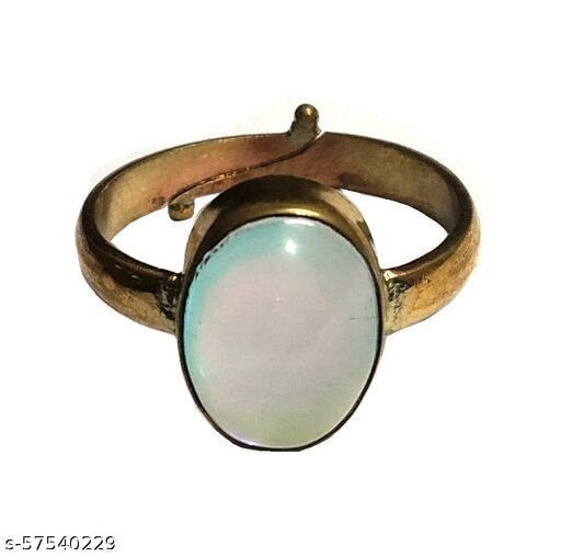 Natural Rainbow Moonstone Ring Silver Plated Adjustable Ring for Men & Women (6 to 7 Carat) Lab Certified
