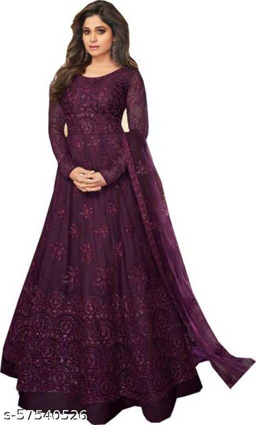 Bollywood Embroidered Gown For Women Semi Stitched (Wine)