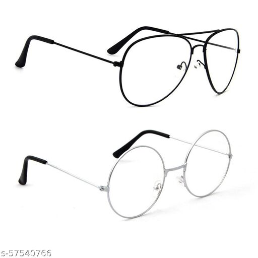 Momentum Clear Lens Round & Aviator Sunglasses | Unisex | Black & Silver Frame | UV Protection | MM-109