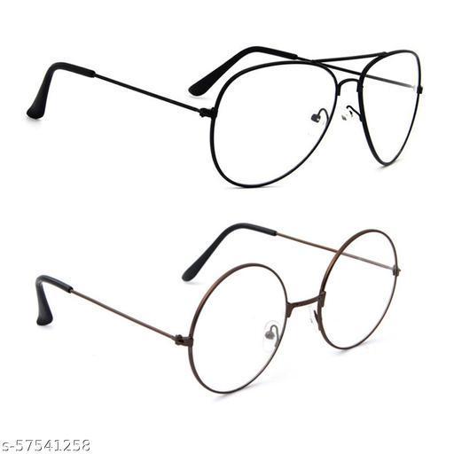 Momentum Clear Lens Round & Aviator Sunglasses   Unisex   Black & Copper Frame   UV Protection   MM-110
