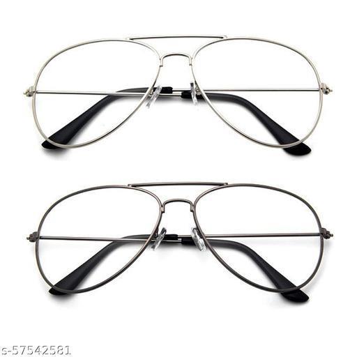 Momentum Clear Silver Aviator & Clear Copper Aviator Sunglasses   Unisex   UV Protection   MM-118