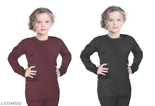 Thermal Wear Top Upper for Boys Girls Kids Baby (Multicolor Pack of 2)