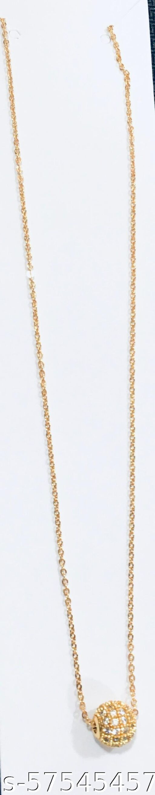 Jewellery Micro Gold Plated White American Diamond round gold  Pendant With Chain  Necklace Golden Chain Pendant for Women and Girls
