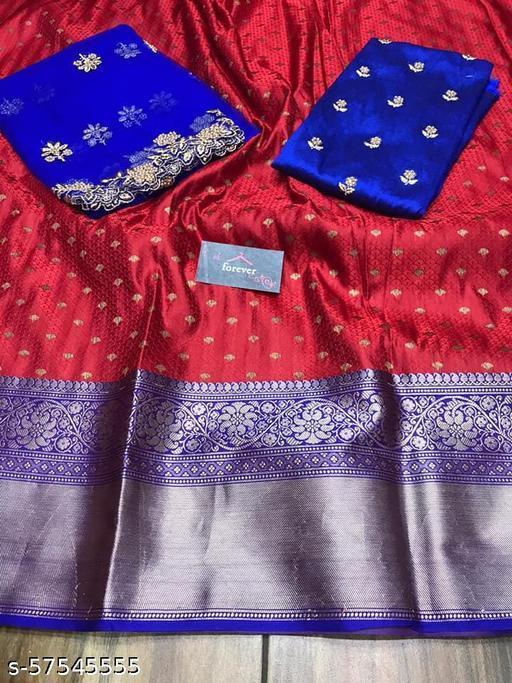 RED CLOUD Kanjiveram Silk Zari lehanga with blouse along with cutwork Duppta HALF SAREE