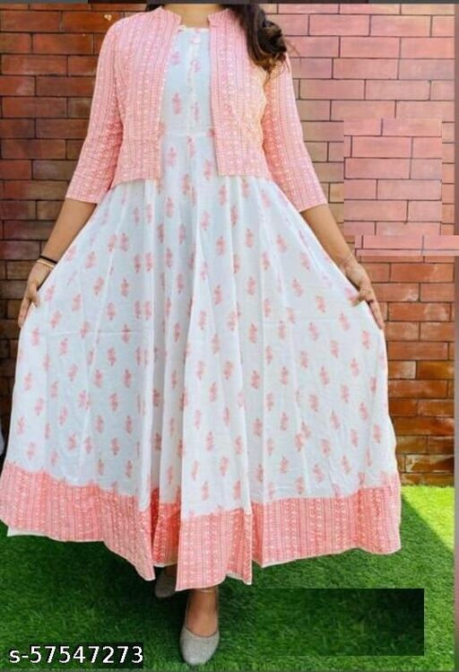 D D Fashion Women Printed Anarkali Kurta With Jacket Set